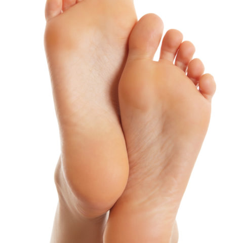 Sole of the female foot.Isolated